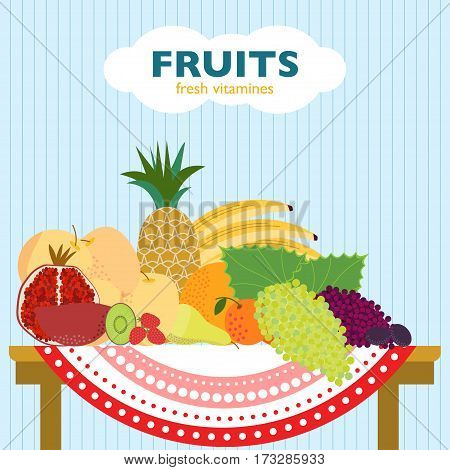 Colorful flat fruit concept with organic fresh ripe products laying on table on striped background vector illustration