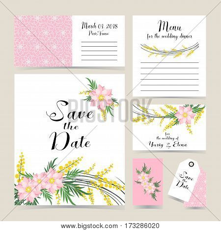 Wedding Invitation Decorated With Mimosa And Spring Flowers.