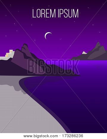 Flat night coast landscape template with sea land mountains stars and moon vector illustration