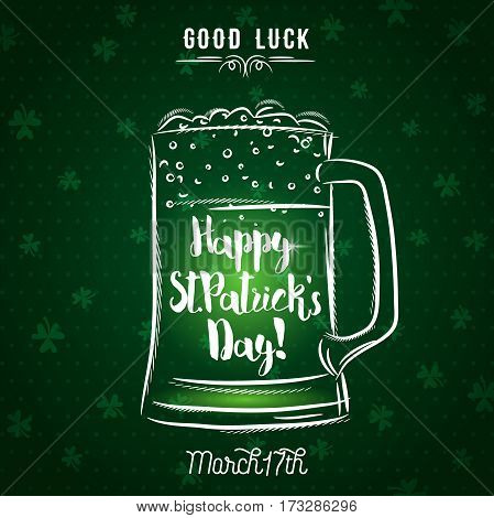 Green background for St. Patrick's Day with beer mug vector illustration.