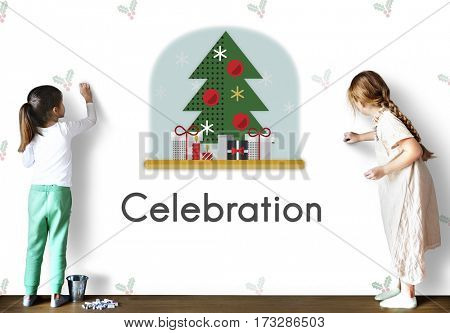 Christmas Tree Celebration Tinsel Concept