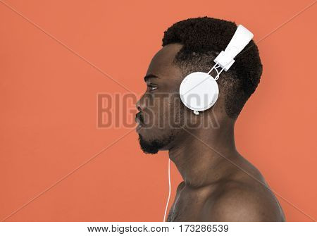 African Man Bare Chest Headphones Music Portrait