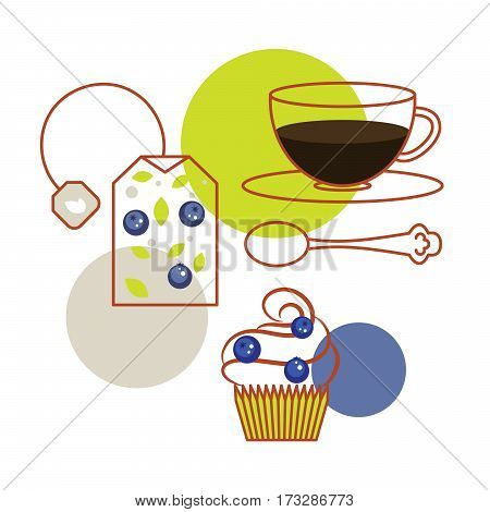 Blueberry tea bag and cup of tea with cupcake vector. Dessert breakfast illustration for package or menu.