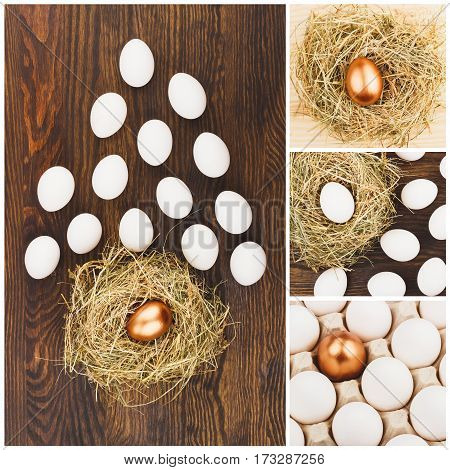 Collage Made From Different Pictures Of Chicken Eggs, Wooden Background
