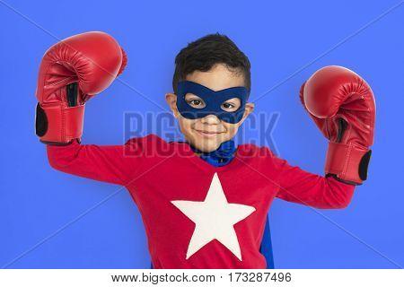 Little Boy Superhero Costume Studio Portrait Concept