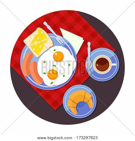 The concept of breakfast time, delicious breakfast, scrambled eggs, toast, sausage, coffee, croissant