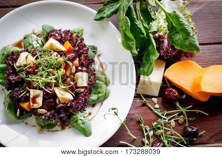 bright healthy salad pumpkin sink and sorrel