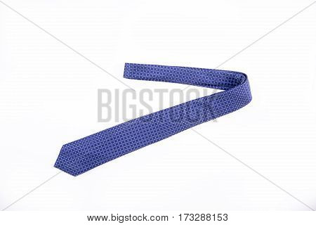 blue tie on a white background. Isolated