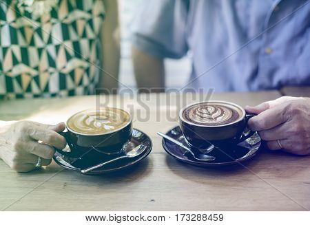 Photo Gradient Style with Mature couple drinking coffee together