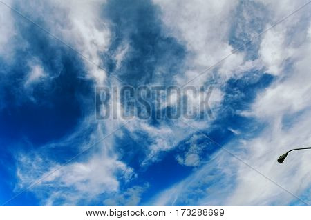 Aerial sky and clouds background blue sky background with white clouds