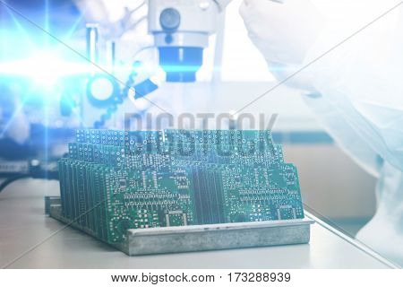 Future technology concept of high technology and robotics. Computer board. Spare parts and components for computer equipment. Production of electronics and maintenance.