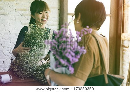 Photo Gradient Style with Flower Shop Store Florist Botany Bouquet Blooming
