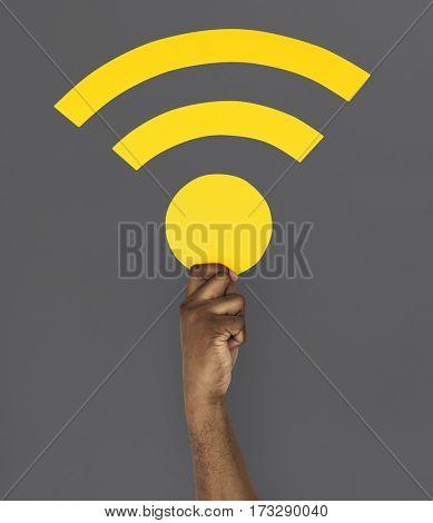 Human Hand Holding Wifi Symbol