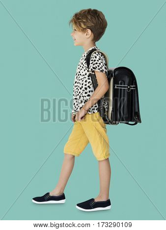 Boy with a school backpack