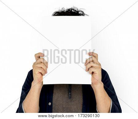 Adult Man Face Coverd Paper Portrait Copy Space