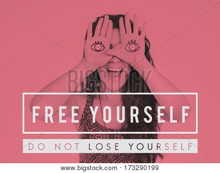 Free yourself phrase text studio people