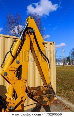Excavators machine in construction site on blue sky background