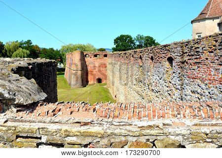 Old medieval fortress in the city Fagaras, Transylvania, Romania.