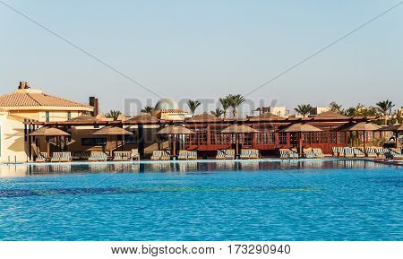 Area Hotel With Pool And Palm Trees In Hurghada. Egypt. The Gol