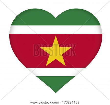 Illustration of the national flag of Suriname shaped like a heart.
