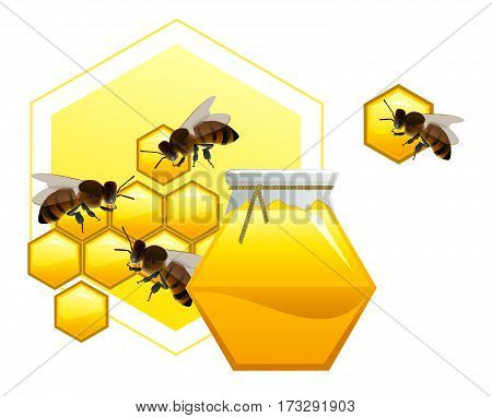 Cask of honey with honeycombs and bees. Vector illustration