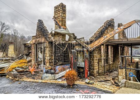 GATLINBURG TENNESSEE/USA - DECEMBER 14 2016: Only the shell of a motel office remains after being destroyed by a forest fire in Gatlinburg in late 2016.