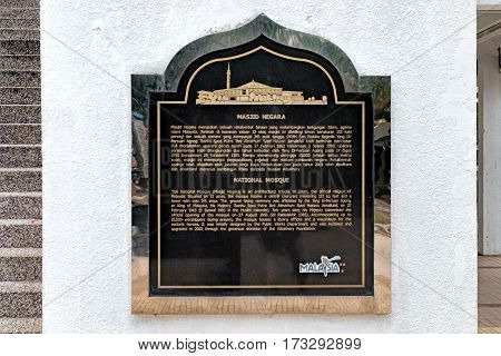 Kuala Lumpur, Malaysia - February 7, 2016: Vintage sign of National Mosque Masjid Negara in Malaysia