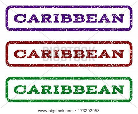 Caribbean watermark stamp. Text caption inside rounded rectangle frame with grunge design style. Vector variants are indigo blue red green ink colors. Rubber seal stamp with scratched texture.
