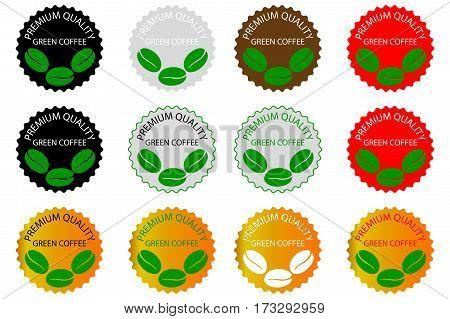 green coffee - sticker or label , coffee bean , Coffee premium quality