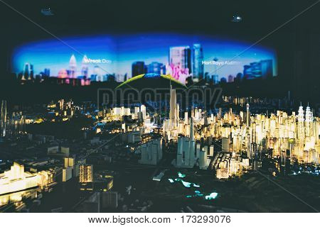 Kuala Lumpur, Malaysia - February 7, 2016: City model show in Kuala Lumpur City Gallery. Presentation film about the city during the show