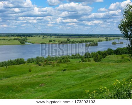 Valley Of The Oka River Near Konstantinovo With Bright Cloudy Sky On A Summer Day
