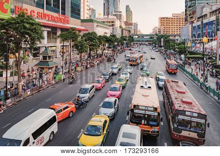 Bangkok, Thailand - January 10, 2016: Aerial view of Ratchadamri Road with traffic jams. Big C Supercenter is the Thai largest hypermart in the business center of Bangkok