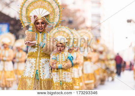 Badajoz Spain - February 24 2017: Kids participating in the children's carnival parade in Badajoz