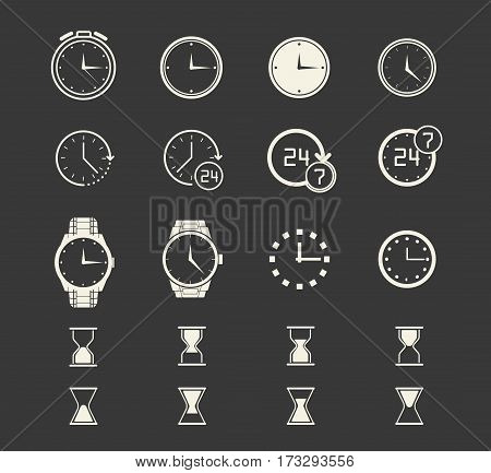 Clock icons set of different types on dark background. Watch logo, elements for web and mobile apps