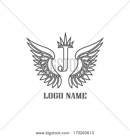 Wings black icons vector. Modern logo tamplate, tattoo