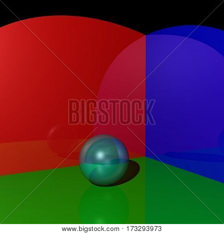 Mirror Sphere on red blue green background