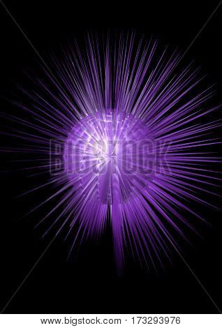 An exploding purple ball with spikes on black background