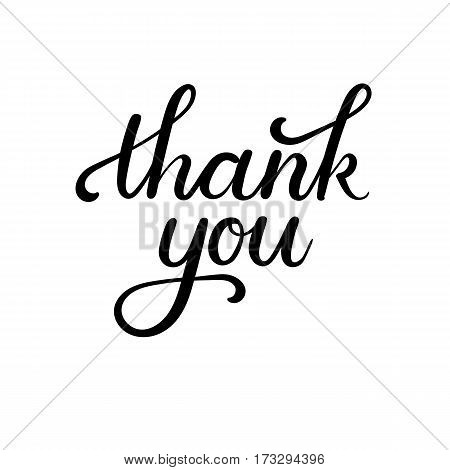 Thank You Hand Lettering Card. Modern Calligraphy. Vector Illustration.
