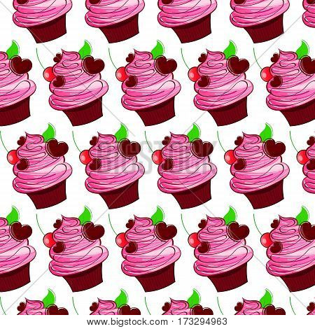 Chocolate cake with pink cream vector illustration