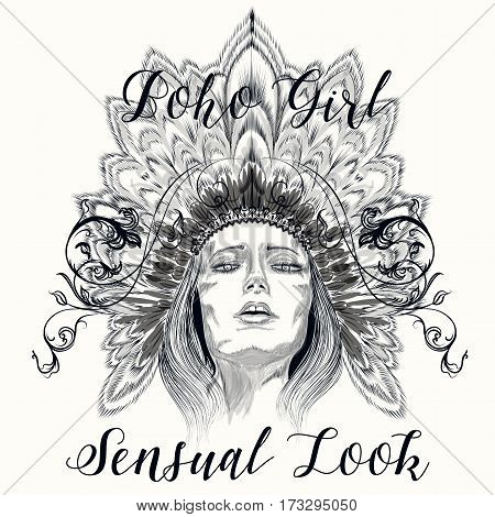 Beautiful boho illustration with hand drawn sensual girl in headdress from feathers