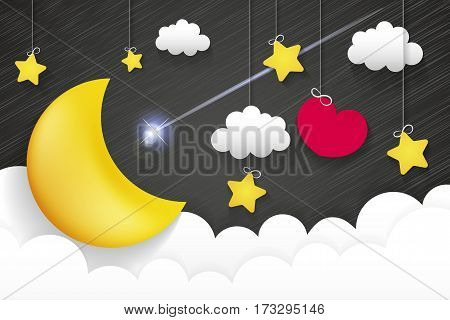 Night time sky nature landscape with moon good night love vector illustration.