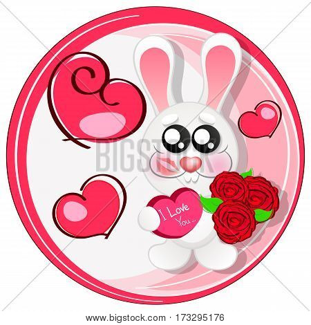 Wedding card with cute cartoon rabbits in love.Greeting card or invitation.
