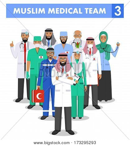 Detailed illustration of muslim arabic medical staff people in flat style on white background.