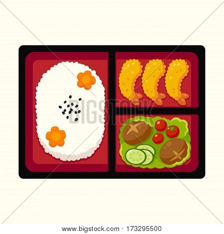 Traditional Japanese bento box lunch with rice tempura shrimp and vegetables. Vector illustration.
