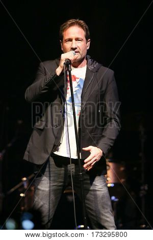 HUNTINGTON, NY-FEB 23: David Duchovny performs onstage at the Paramount on February 23, 2017 in Huntington, New York.