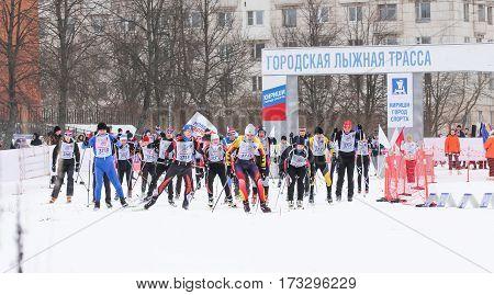 Kirishi, Russia - 11 February, Group starters skiers, 11 February, 2017. Mass ski race Russian Ski Track.