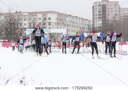 Kirishi, Russia - 11 February, Urban skiing holiday, 11 February, 2017. Mass ski race Russian Ski Track.