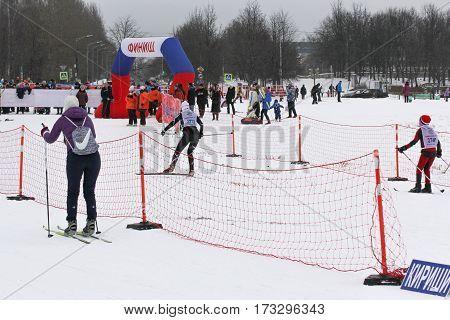 Kirishi, Russia - 11 February, Skiers suitable to the finish line, 11 February, 2017. Mass ski race Russian Ski Track.