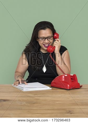 Woman Writing Talking Telephone Communication