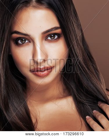 cute happy young indian woman in studio close up smiling, fashion mulatto flirting, lifestyle real people concept
